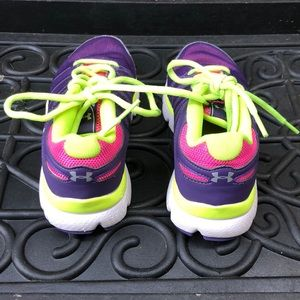 cb3b6e38 Underarmour girls purple pink yellow sneakers 1Y